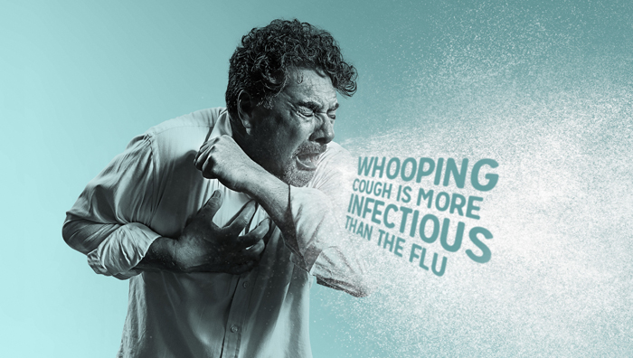 An elderly woman suffering from the symptoms of whooping cough.